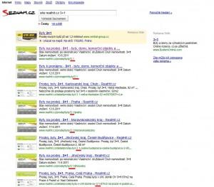 Ukázka SERPu vyhledávače Seznam
