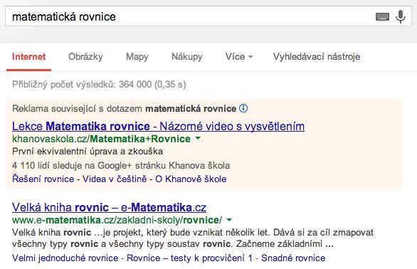 Skloňování slov u vyhledávače Google